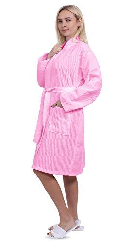 - Turkuoise Unisex Plus Size Long Waffle Robe, Polycotton Kimono Bathrobe Made in Turkey