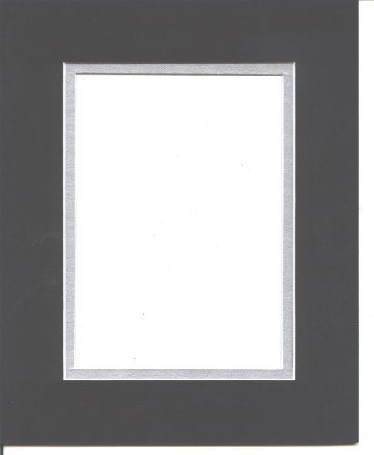 - Pack of 5 11x14 Black & Silver Double Picture Mats Mattes Matting Cut for 8x10 Pictures