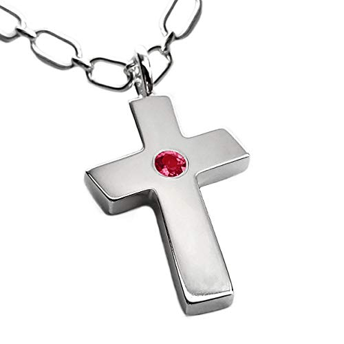 (Large Ruby Cross Necklace Pendant in Sterling Silver, Heavy Cross Pendant, Ruby Cross, Silver Cross, Huge Cross Pendant, Ruby Cross, Large Cross, Silver Crucifix Pendant)
