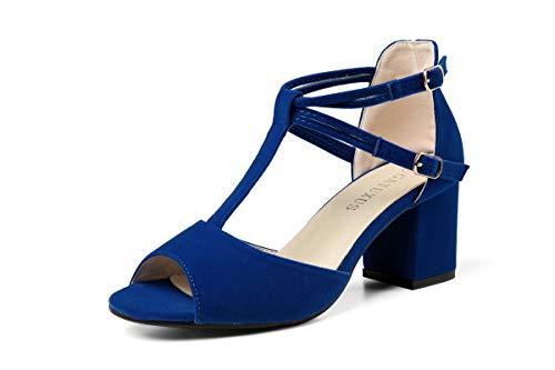 (GATUXUS Women Open Toe Strap Chunky Low Heel Sandals Dress Shoes (9 B(M) US, Royal Blue))