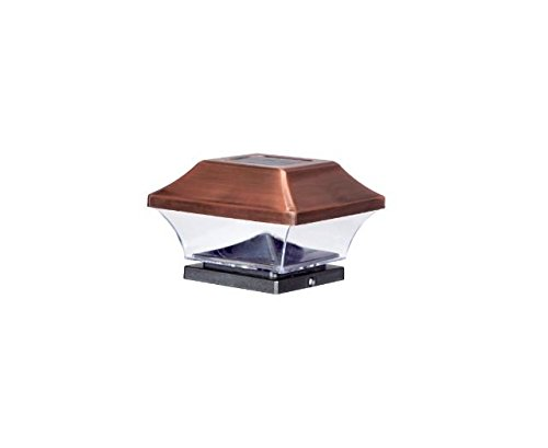 EZSolar QTP7-R2-AC-4 Solar Powered Led Antique Copper Post Cap Light (4-Pack),