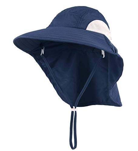 Connectyle Child Kids UPF 50+ UV Sun Protection Hat Large Brim Bucket Sun Hats with Neck Flap Cover Navy Blue