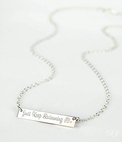 Just Keep Swimming Necklace, Inspirational Quote, Disney Finding Nemo, Finding Dory necklace, memorial breakup divorce motivation ()