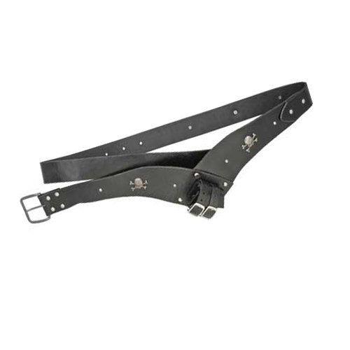Deluxe Adult Costumes - Adult heavy duty black leather pirate cutlass or sword belt frog with silver-tone skull and crossbone studs