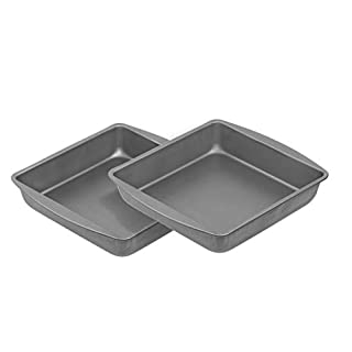 G & S Metal Products Company HG266 OvenStuff Nonstick Square Cake Baking Pan 9'', Set of 2, Gray