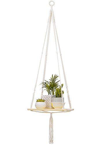 Plant Hanger (Square),YXMYH Macrame Plant Hanger Shelf Hanging Planter Home Decor Cotton Cord and Pine Shelf -BOHO Bohemian Home Decor 43 Inches by YXMYH