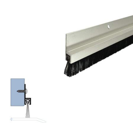Clear Anodized Aluminum Door Bottom Sweep with 5/8'' Nylon Brush (72918CA), SMS #6 x 1/2'' Supplied, (5/16'' W x 1'' H x 42'' L)