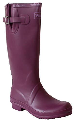 Womens Ladies Wetlands Adjustable Calf Snow Rain Mud Festival Waterproof Wellington Boots Wellies Sizes UK 5-8 (UK 7, Plum)