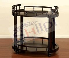 Shilpi Assume Look Wooden Round Shape Service Trolley / Black Kitchen Tools Service Trolley