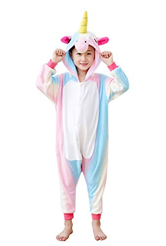 Comfy New Kids Unisex Animal Onesies Unicorn Pajamas Cosplay Outfit Halloween Costume One-Piece Birthday Gifts (4T Height 37-41