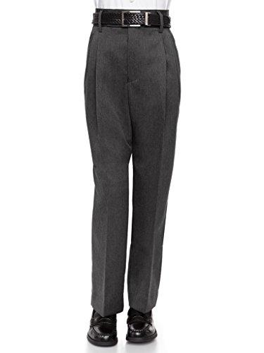 Pleated Dress Slacks (RGM 100% Dacron, Pleated Front, Boys Dress Slacks Charcoal 16)