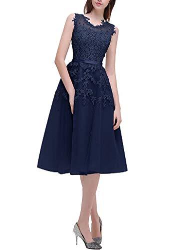 2000 Quinceanera Dress - Gray Short Bridesmaids Dresses Sky Blue Applique Beads Sheer Back Party Gown Dress,Navy Blue,10