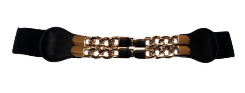 EVogues Plus Size Gold Chain Link Buckle Elastic Belt Black - One Size Plus