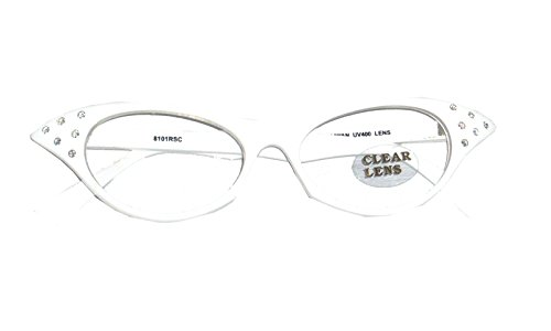 SG6CL/2 (White) Rhinestone 1950's Cat Eyeglasses (Fifties Cat Eye Rhinestone Glasses)