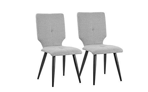 2 Pice Set of Linen Fabric Upholstered Kitchen Dining Chairs