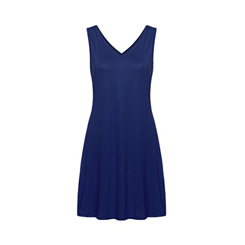 Couleur Manches Bleu Femme Femme Tunique Dress Poches Robe Unie Dbardeur Robes avec sans Ete Party Ligne Lache Col Robe V Cocktail Elegante Casual Chic Soire A Femme Mini POachers HfPqIxH