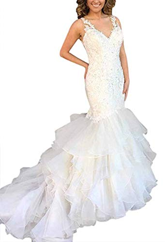 fe6b05bec2c Ri Yun Women s Sleeveless Lace Mermaid Wedding Dresses for Bride 2018 with Ruffled  Train