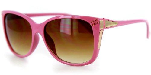 Stella Designer Sunglasses with Large Lenses and Rounded Wayfarer Shape for Youthful, Stylish Women (Pink w/ - Rounded Wayfarer