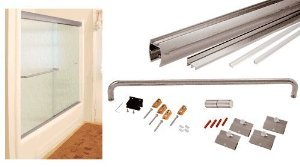 CRL Brushed Nickel 72'' x 60'' Cottage CK Series Sliding Shower Door Kit With Clear Jambs for 1/4'' Glass - CK147260BN