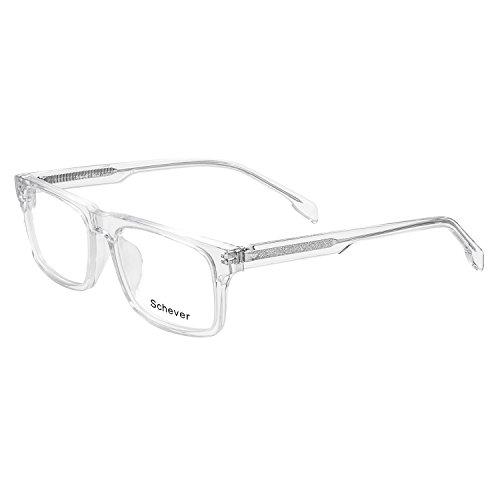 Schever Unisex Hand Made Rectangle Non-prescription Glasses Frame Clear Lens Eyeglasses SV3203 (Crystal, - Glasses Frames Crystal Clear