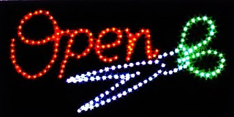 - E-ONSALE Ultra Bright LED Neon Animated Hair CUT Salon Open Sign for Business w/Power & Animation On/off (OPEN/SCISSORS)