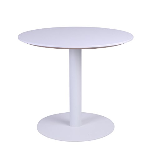 "Base Cafe Table (Sunon 27.5"" Round White Coffee Table with White Pedestal Base Cafe Table (Moon White))"