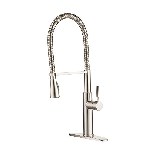 (Enzo Rodi Modern Spring Commercial High-arc Lead-free Brass Pull-down Kitchen Sink Faucet with Pull-out Sprayer, Stainless Steel, ERF7356390AP-10)