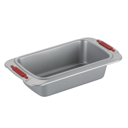 Cake Boss Deluxe Nonstick Bakeware 9-Inch by 5-Inch Loaf Pan, Gray with Red Silicone Grips