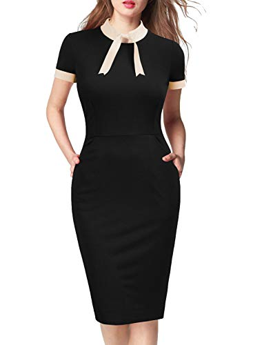 WOOSEA Womens Short Sleeve Colorblock Slim Bodycon Business Pencil Dress with Pockets