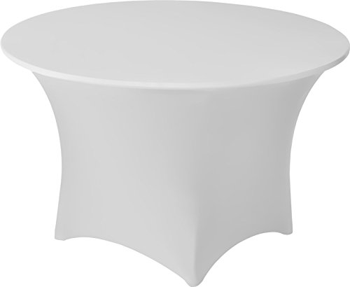 Snap Drape CC48RWH Contour Table Cover, Snug Fit, Reinforced Rubber Cup Attached To Leg, Flame Retardant, Machine Washable/Dryable, Fits 48'' round, Polyester/Spandex Blend White (Pack of 55)