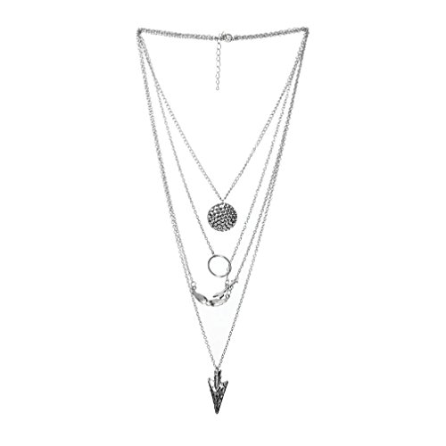 Clearance Pendant Necklace,Han Shi Women Luxury Multilayer Irregular Crystal Chain Jewelry (Silver, M)