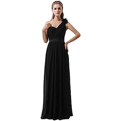 Kivary® Women's Long One Shoulder Black Chiffon Simple A Line Prom Evening Dresses