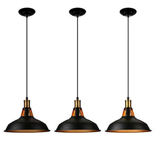 LEONLITE Industrial Metal Pendant Light, Edison Vintage Style Hanging Barn Lampshade, Matte Black, UL Listed, E26 Base, for Kitchen, Pool Table, Dining Room, Pack of 3