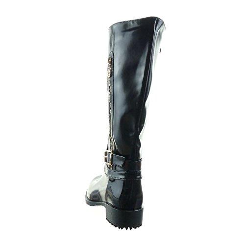 Sopily - Scarpe da Moda Stivali - Scarponi stivali pioggia cavalier al polpaccio donna lucide fibbia verniciato Tacco a blocco 3.5 CM - Nero