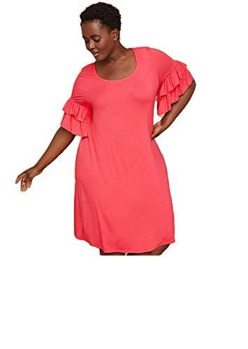 Lane Bryant Dress - Lane Bryant Red Ruffle-Sleeve Knit Swing Dress (18/20)