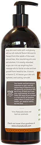 Viva Naturals Sweet Almond Oil 16 fl oz 100 Pure and Hexane Free Ideal for Skin and Hair