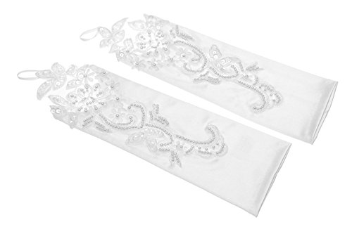 "Venus Bridal Women's 11"" Lace Pearl Flower Fingerless Gloves One Size White"