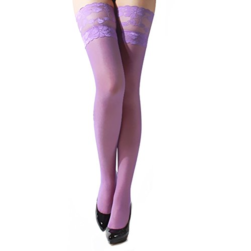 Polytree Women's Floral Lace Top Sheer Thigh High Stockings - Purple