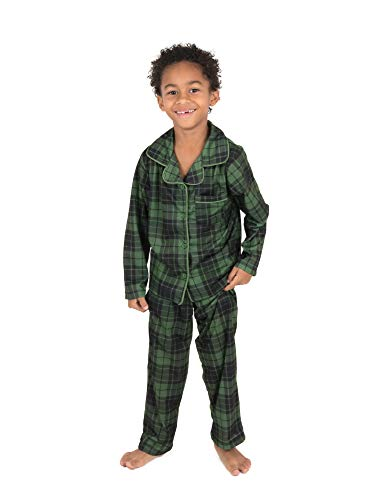 Green Christmas Pajama - Leveret Kids Pajamas Flannel Pajamas Boys & Girls 2 Piece Christmas Pajama Set Green/Black Plaid 12 Years