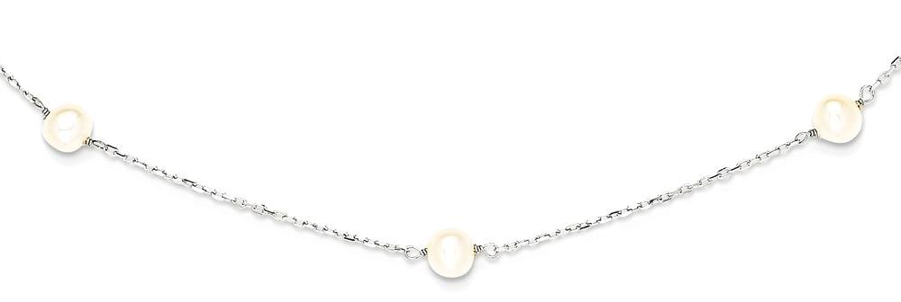 ICE CARATS 14k White Gold Freshwater Cultured Pearl Chain Necklace Fine Jewelry Gift Set For Women Heart