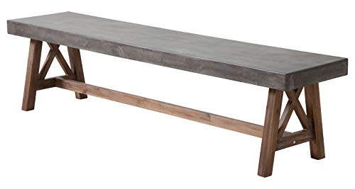 Zuo Modern Ford Bench in Cement & Natural and Acacia Wood
