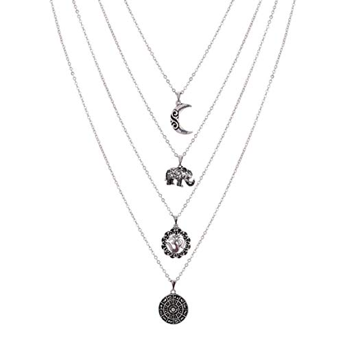 Wcysin Women Girls Dual Layer Elephant Moon Pendant Necklace Fashionable Chain Choker Necklace Silver
