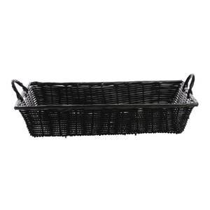 "Retail Resource K2000-18 BLK 18"" x 12"" x 3 1/2"" Large Synthetic Wicker Baskets with Handles, Black,"