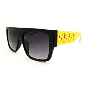 Gold Plastic Chain Arm Oversized Trendy Horn Rim Sunglasses - Black Gold