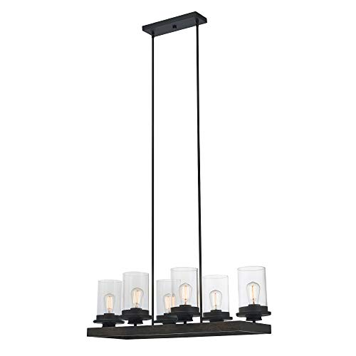 Accents Light Six Chandelier (Globe Electric Williamsburg 6-Light Chandelier, Dark Bronze, Faux Wood Accent, Clear Glass Shades 60317)