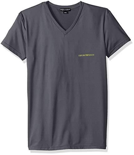 Emporio Armani Men's Essential Microfiber Vneck T-Shirt, Anthracite, -
