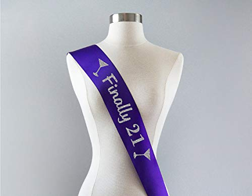 DecorFav 21 Finally Legal Birthday Gift Idea for Women Custom Personalized Sashes Color and Lettering Wedding Party Sash -