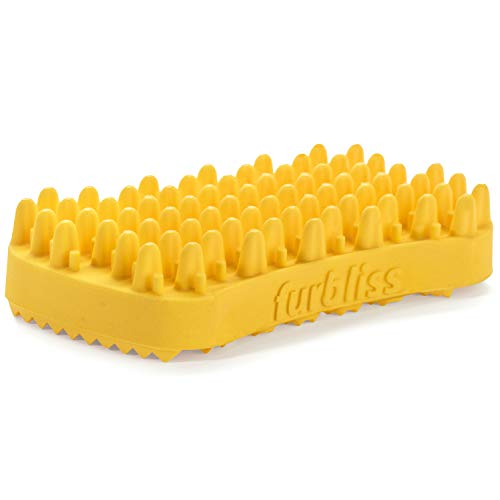 Furbliss Dog & Cat Brush for Medium/Large Pets with Short Hair, Non-Metal Grooming Bathing Massaging and Deshedding Brush - Yellow
