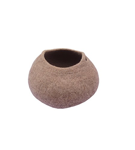 Le Sharma Eco-NapeeCat, Handmade 100% Wool, Cat Cave Bed (Brown)