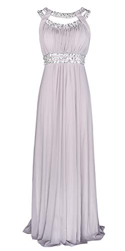 Licoco Women Sleeveless Beaded Semi-Formal Long Maxi Evening Gown Wedding Dress (Grey 70, Small)